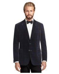 Brooks Brothers - Blue Regent Fit Tartan Velvet Dinner Jacket for Men - Lyst