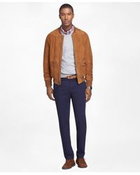 Brooks Brothers | Brown Suede Bomber Jacket for Men | Lyst