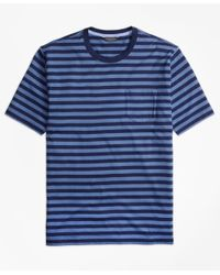 Brooks Brothers | Blue Supima® Cotton Bar Stripe Pocket Tee Shirt for Men | Lyst