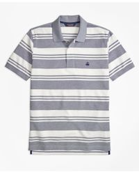 Brooks Brothers | Blue Slim Fit Oxford Pique Beach Stripe Polo Shirt for Men | Lyst