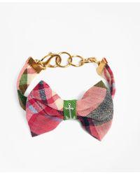 Brooks Brothers - Kiel James Patrick Pink And Green Madras Bow Bracelet - Lyst