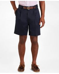 Brooks Brothers - Blue Pleat-front Lightweight Advantage Shorts for Men - Lyst