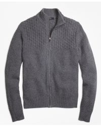 Brooks Brothers | Gray Wool Cashmere Heritage Textured Full-zip Sweater for Men | Lyst