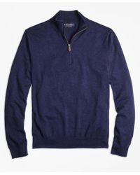 Brooks Brothers | Blue Supima® Cotton Half-zip Sweater for Men | Lyst