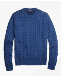 Brooks Brothers | Blue Supima® Cotton Cable Knit Crewneck Sweater for Men | Lyst
