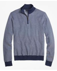 Brooks Brothers   Blue Supima® Cotton-cashmere Textured Half-zip Sweater for Men   Lyst