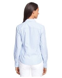 Brooks Brothers - Blue Petite Non-iron Fitted Supima® Cotton Stripe Dress Shirt - Lyst