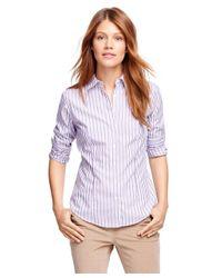 Brooks Brothers   Purple Petite Non-iron Fitted Supima® Cotton Stripe Dress Shirt   Lyst