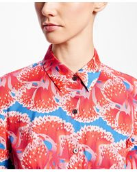 Brooks Brothers - Red Petite Floral-print Cotton Sateen Shirt Dress - Lyst