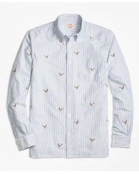 Brooks Brothers | Blue Pheasant-embroidered Striped Oxford Sport Shirt for Men | Lyst