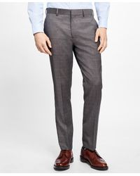 Brooks Brothers | Brown Slim-fit Plaid Stretch-wool Suit Trousers for Men | Lyst