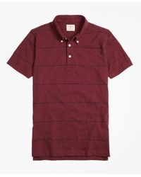 Lyst brooks brothers slub thin stripe polo shirt in red for Brooks brothers tall shirts