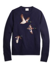 Brooks Brothers - Blue Duck Intarsia Crewneck Sweater - Lyst