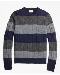 Brooks Brothers | Blue Wide-stripe Cable Crewneck Sweater for Men | Lyst