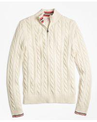 Brooks Brothers | White Tennis Stripe Half-zip Mockneck for Men | Lyst
