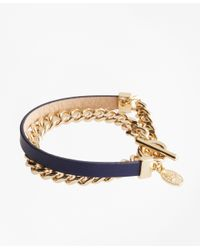 Brooks Brothers | Blue Leather Chain Wrap Bracelet | Lyst