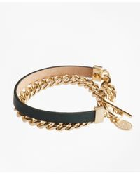 Brooks Brothers | Green Leather Chain Wrap Bracelet | Lyst