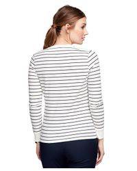 Brooks Brothers | White Stripe Henley Shirt | Lyst