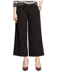 Brooks Brothers | Black Wide Leg Cropped Pants | Lyst