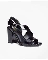 Brooks Brothers | Natural Patent Leather Open-toe Stacked Sandals | Lyst