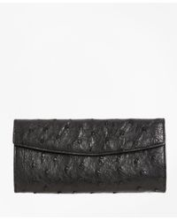 Brooks Brothers | Black Ostrich Wallet | Lyst