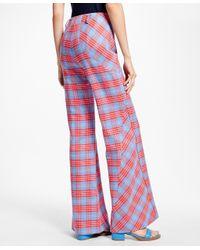 Brooks Brothers Gray Flared-leg Cotton Plaid Bias Pants