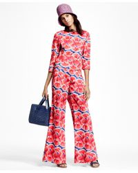 Brooks Brothers Blue Floral-print Cotton Sateen Pants