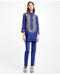 Brooks Brothers - Purple Embroidered Linen Tunic - Lyst