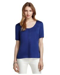 Brooks Brothers | Blue Short-sleeve Silk Blouse | Lyst