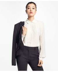 Brooks Brothers | White Silk Crepe Tuxedo Blouse | Lyst