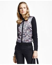 Brooks Brothers | Black Mixed-media Silk-front Cardigan | Lyst