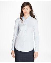 Brooks Brothers - Blue Non-iron Tailored-fit Chevron Dobby Cotton Poplin Shirt - Lyst