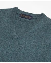 Brooks Brothers - Green Two-ply Cashmere V-neck Sweater for Men - Lyst