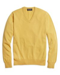 Brooks Brothers | Yellow Cashmere V-neck Sweater for Men | Lyst