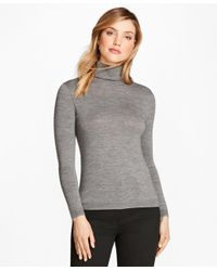 Brooks Brothers | Gray Saxxon Wool Turtleneck Sweater | Lyst