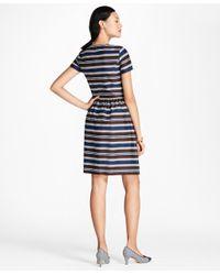 Brooks Brothers - Blue Striped Stretch-cotton Sateen Dress - Lyst
