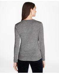 Brooks Brothers - Gray Saxxon Wool V-neck Sweater - Lyst