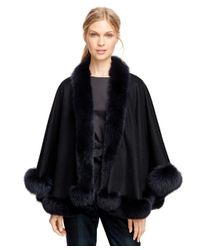 Brooks Brothers - Blue Cashmere Ruana With Fox Fur Trim - Lyst