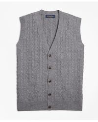 Brooks Brothers - Gray Merino Wool Cable Button-front Vest for Men - Lyst