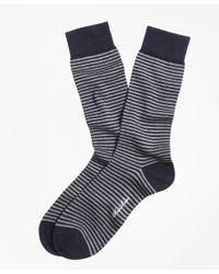 Brooks Brothers - Blue Stripe Crew Socks for Men - Lyst
