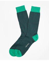 Brooks Brothers - Green Bright Stripe Crew Socks for Men - Lyst