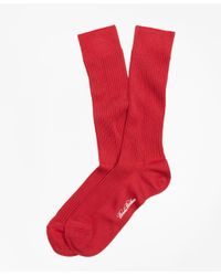 Brooks Brothers | Red Ribbed Supima® Cotton Crew Socks for Men | Lyst