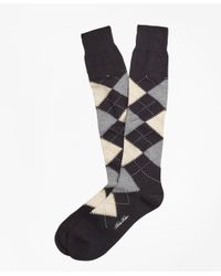 Brooks Brothers - Black Cotton Argyle Over-the-calf Socks for Men - Lyst