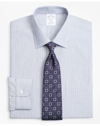 Brooks Brothers - Blue Regent Fitted Dress Shirt, Non-iron Hairline Ground Alternating Stripe for Men - Lyst