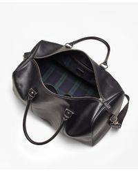 Brooks Brothers - Leather With Black Watch Duffle Bag - Lyst