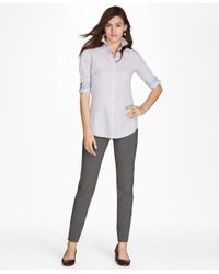 Brooks Brothers - Purple Non-iron Multi-stripe Cotton Poplin Fitted Dress Shirt - Lyst