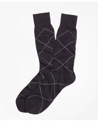 Brooks Brothers | Blue Raker Crew Socks for Men | Lyst
