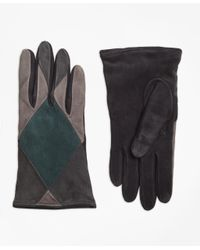 Brooks Brothers - Gray Color-block Suede Gloves - Lyst