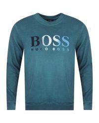 BOSS - Casual Open Green Felt Logo Sweatshirt for Men - Lyst