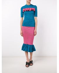 House of Holland - Blue Pufferfish Frill Top - Lyst